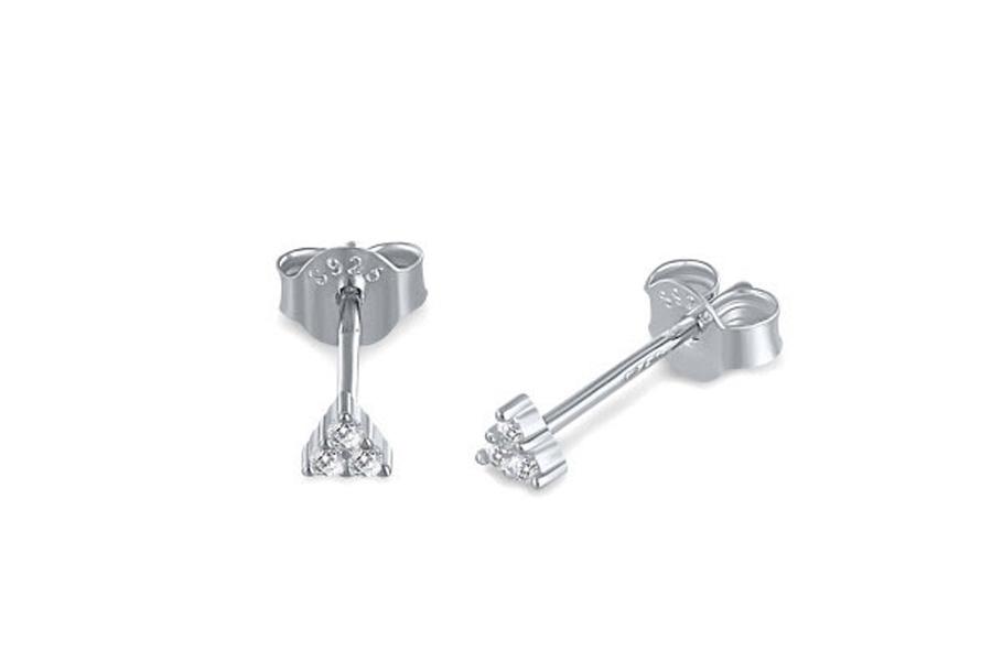 Goud- en zilverkleurige oorbellen Zilverkleurig - B - Driehoek