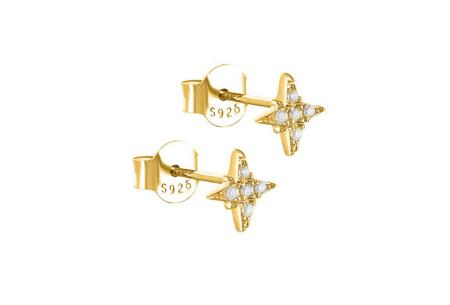 Goud- en zilverkleurige oorbellen | Van 925 Sterling Silver - in 4 minimalistische varianten C - Goudkleurig