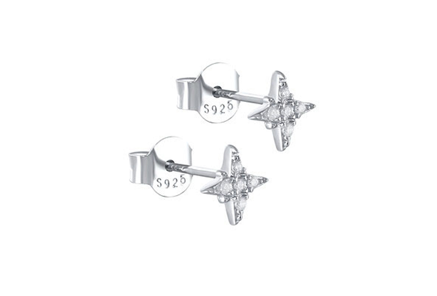 Goud- en zilverkleurige oorbellen Zilverkleurig - C - Ster