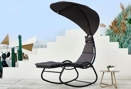 Schommelstoel met parasol | Comfortabele relaxstoel voor buiten van Feel Home