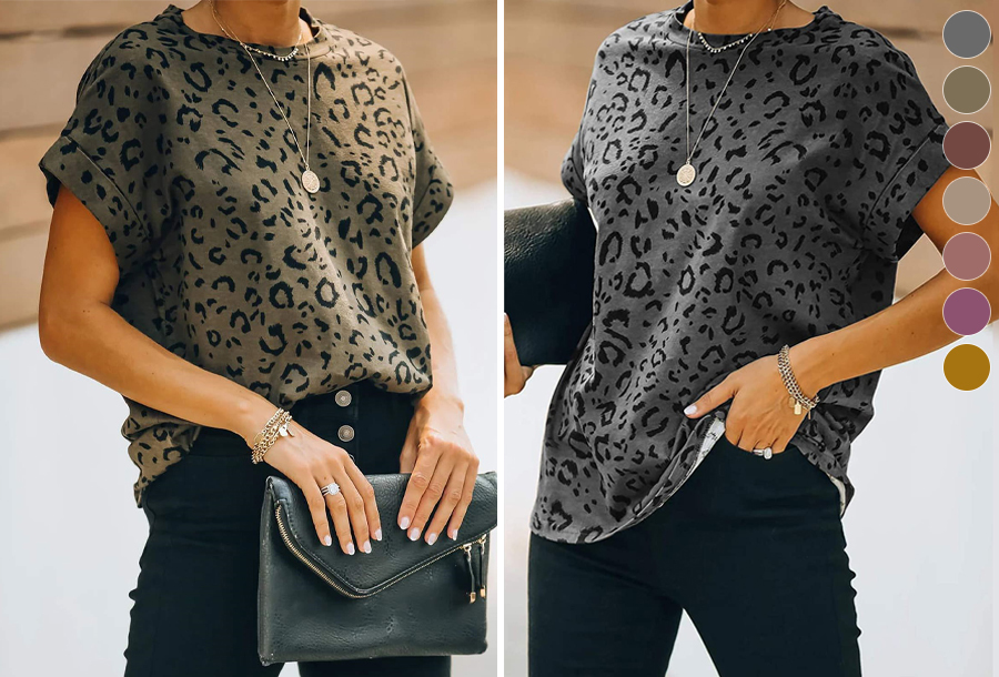 Panterprint T-shirt voor dames in de sale