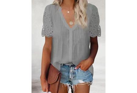 Broderie blouse voor dames | Prachtige linnenlook blouse met opengewerkte korte mouwen Grijs