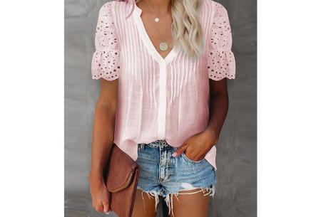Broderie blouse voor dames | Prachtige linnenlook blouse met opengewerkte korte mouwen Roze