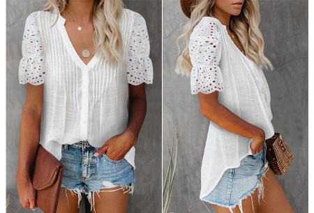 Broderie blouse voor dames | Prachtige linnenlook blouse met opengewerkte korte mouwen Wit