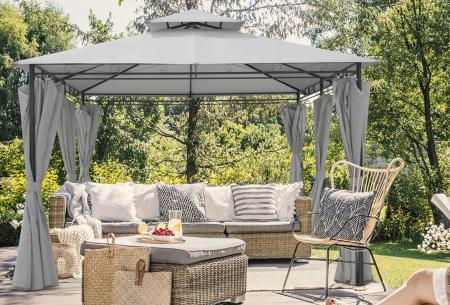 Luxe tuinpaviljoen van Intimo Garden   Knus prieel met zijdoeken en ledverlichting  Grijs