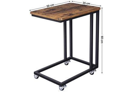 Bijzettafel op wielen van iBella Living   Verrijdbaar tafeltje met industriële look