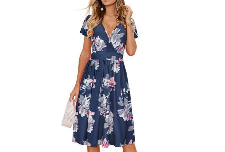Printed zomerjurk   Luchtige getailleerde V-hals jurk - in 12 prints #B