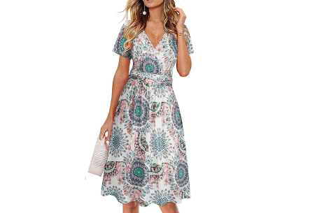 Printed zomerjurk   Luchtige getailleerde V-hals jurk - in 12 prints #C