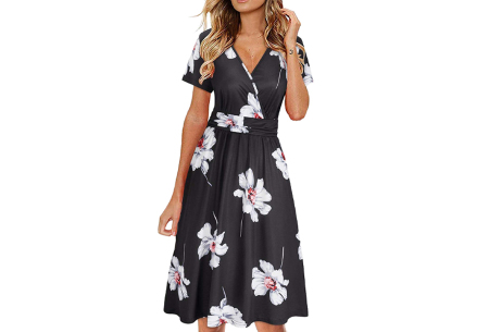 Printed zomerjurk   Luchtige getailleerde V-hals jurk - in 12 prints #F