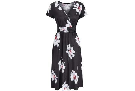 Printed zomerjurk   Luchtige getailleerde V-hals jurk - in 12 prints