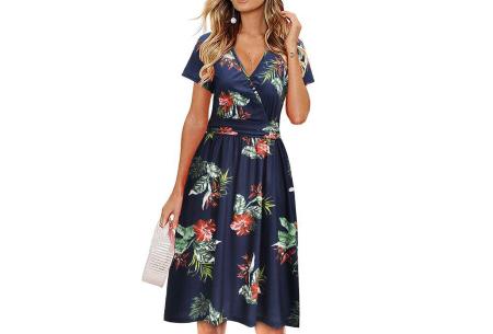 Printed zomerjurk   Luchtige getailleerde V-hals jurk - in 12 prints #G