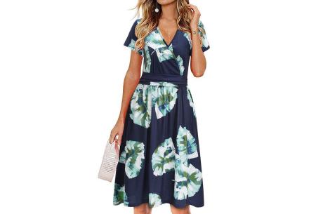 Printed zomerjurk   Luchtige getailleerde V-hals jurk - in 12 prints #I