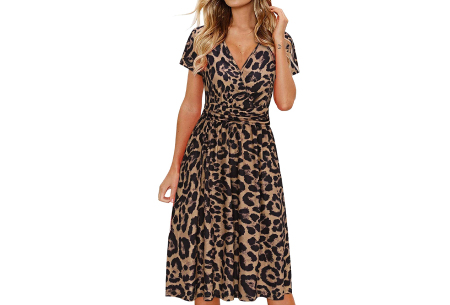 Printed zomerjurk   Luchtige getailleerde V-hals jurk - in 12 prints #J