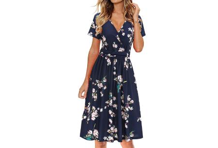 Printed zomerjurk   Luchtige getailleerde V-hals jurk - in 12 prints #K