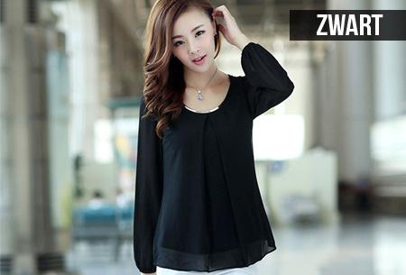 Chiffon blouse met metalen detail | Stijlvol en feestelijk!