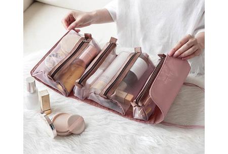 Opvouwbare toilettas voor dames | Handig tasje voor je make-up en toiletspullen Roze