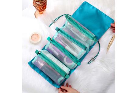 Opvouwbare toilettas voor dames | Handig tasje voor je make-up en toiletspullen Zeeblauw