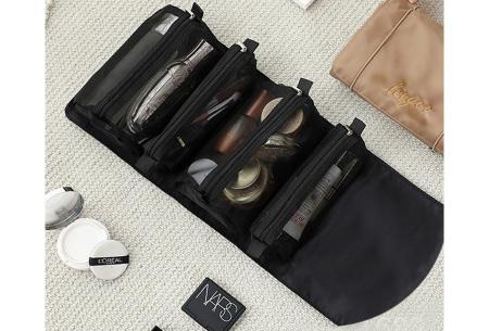 Opvouwbare toilettas voor dames | Handig tasje voor je make-up en toiletspullen Zwart
