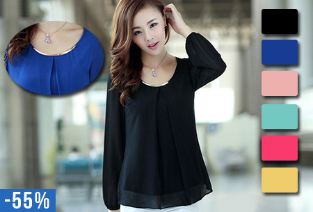 Chiffon blouse met metalen detail