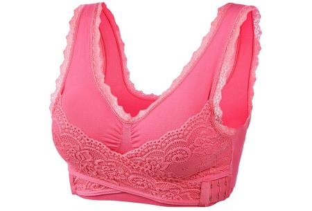 Cross Lace bh | Comfortabele bralette met gekruist kanten detail - in 8 kleuren  Roze