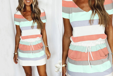 Striped sweater jurk | Comfy gestreepte jurk voor dames #A