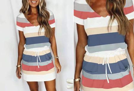 Striped sweater jurk | Comfy gestreepte jurk voor dames #B