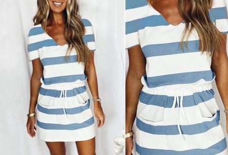 Striped sweater jurk | Comfy gestreepte jurk voor dames Blauw