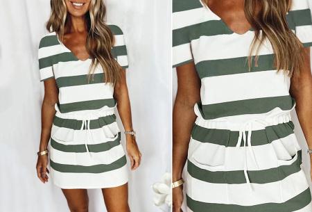 Striped sweater jurk | Comfy gestreepte jurk voor dames Groen