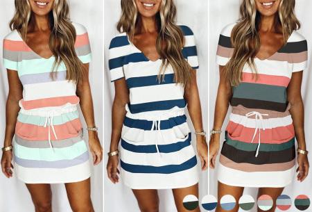 Striped sweater jurk | Comfy gestreepte jurk voor dames