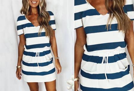 Striped sweater jurk | Comfy gestreepte jurk voor dames Navy