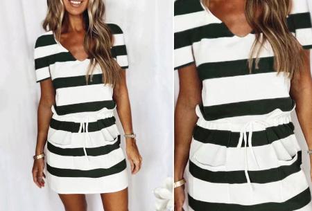 Striped sweater jurk | Comfy gestreepte jurk voor dames Zwart