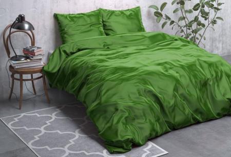 Satijnen Beauty dekbedovertrek | Prachtig luxe overtrek dat goed is voor huid én haar! Groen