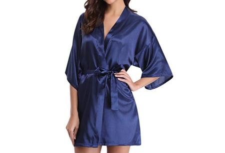 Satijnen kimono voor dames | Korte badjas voor een sexy look Donkerblauw