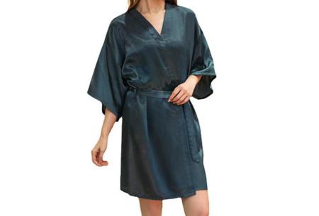 Satijnen kimono voor dames | Korte badjas voor een sexy look Donkergroen
