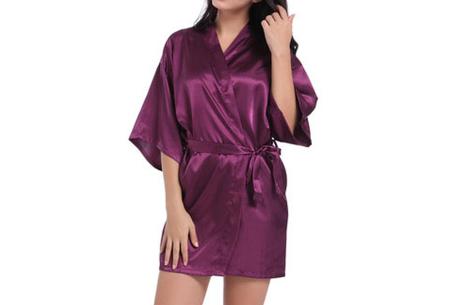 Satijnen kimono voor dames | Korte badjas voor een sexy look Donkerpaars