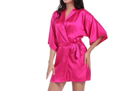 Satijnen kimono voor dames | Korte badjas voor een sexy look Fuchsia