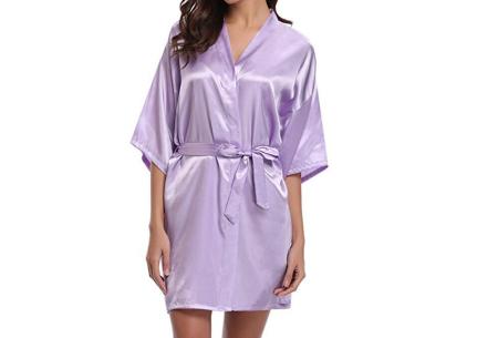 Satijnen kimono voor dames | Korte badjas voor een sexy look Lila