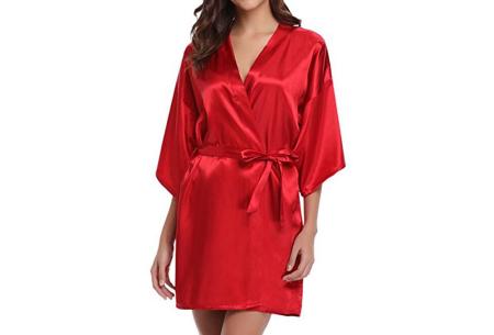 Satijnen kimono voor dames | Korte badjas voor een sexy look Rood