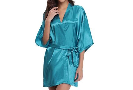 Satijnen kimono voor dames | Korte badjas voor een sexy look Turquoise