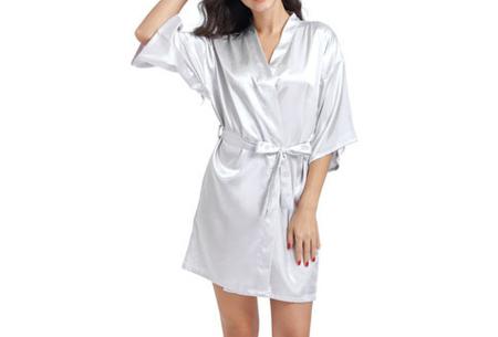 Satijnen kimono voor dames | Korte badjas voor een sexy look Zilvergrijs