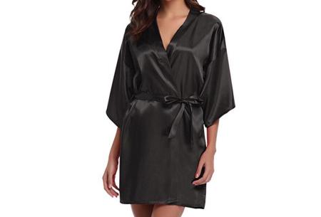 Satijnen kimono voor dames | Korte badjas voor een sexy look Zwart
