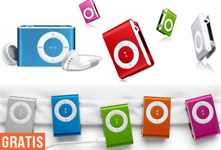 Mini Clip MP3 speler met koptelefoon t.w.v. €19,95 nu GRATIS! 8 kleuren