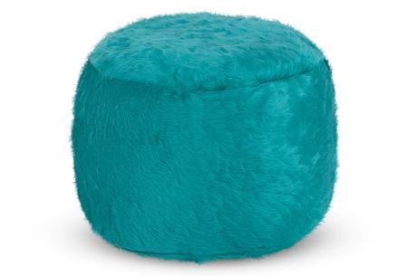 Furry zitzak van Your Basics | Keuze uit 17 kleuren en 3 modellen in diverse maten Aqua - poef rond