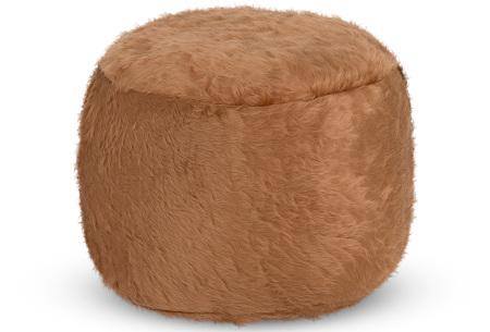 Furry zitzak van Your Basics | Keuze uit 17 kleuren en 3 modellen in diverse maten Camel - poef rond