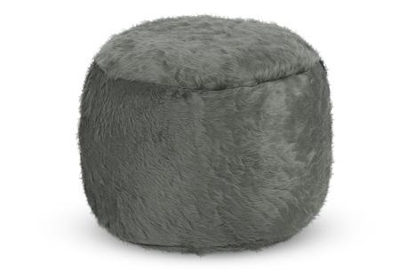Furry zitzak van Your Basics | Keuze uit 17 kleuren en 3 modellen in diverse maten Donkergrijs - poef rond
