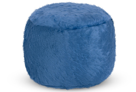 Furry zitzak van Your Basics | Keuze uit 17 kleuren en 3 modellen in diverse maten Kobalt - poef rond