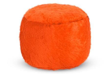 Furry zitzak van Your Basics | Keuze uit 17 kleuren en 3 modellen in diverse maten Oranje - poef rond