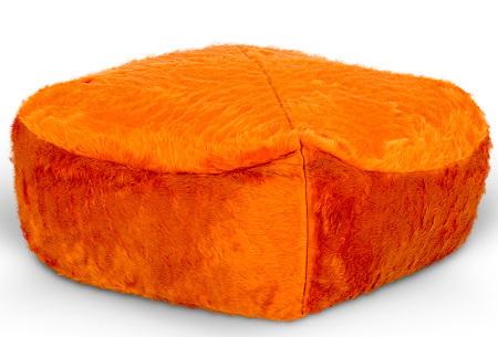 Furry zitzak van Your Basics | Keuze uit 17 kleuren en 3 modellen in diverse maten Oranje - poef vierkant