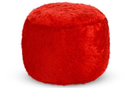 Furry zitzak van Your Basics | Keuze uit 17 kleuren en 3 modellen in diverse maten Rood - poef rond