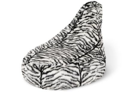 Furry zitzak van Your Basics | Keuze uit 17 kleuren en 3 modellen in diverse maten Zebra  - stoel